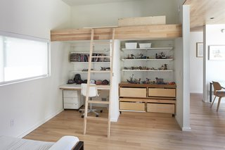 The kids' bedrooms feature custom bunk beds with homework stations underneath.