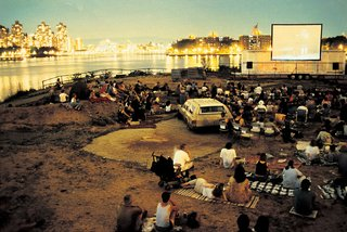 An outdoor cinema night in 1999.