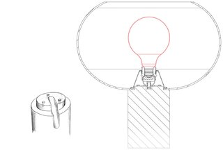 A sketch of the Buds table lamp shows how the glass shade attaches to the cylindrical plastic base.