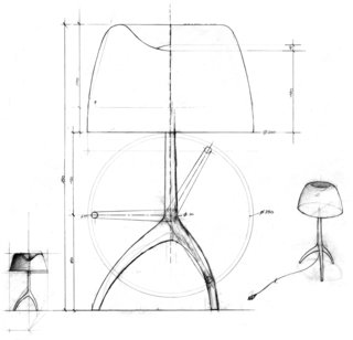 Sketches of the Lumiere lamp, originally designed by Dordoni for Foscarini in 1990, show the light's signature tripod base. The product helped put the Italian company on the map.