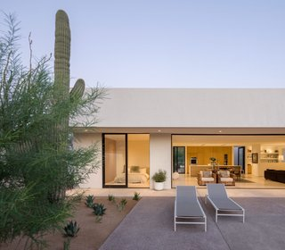 The design team's initial plans focused on maximizing views of Camelback Mountain and optimizing the orientation of the house in order to create a passive solar strategy. Heat gain and loss is reduced by the use of thermally broken windows and doors, a foam roofing system, and an Exterior Insulation and Finish system (EIFS).