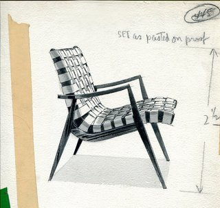 Mel's design process always started with rough sketches, where he was able to get a better feel for the proportions. He would then translate them into more detailed drawings with precise dimensions and notes. Here is an exquisite example of his process from when he was developing the Woven Leather Armchair.