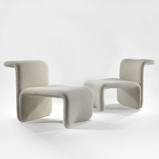 Also featured in Demisch Danant's presentation, was a pair of graphic and surprisingly buoyant chairs designed by Michael Boyer in 1968. Boyer was known for designing prestigious offices, hotels, and banks, often utilizing interesting architectural shapes in his work. These chairs do just that, with an emphasis on the beauty of empty space.