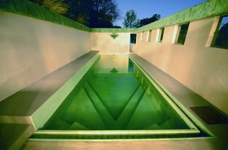 Along with being designated as a Los Angeles Historic-Cultural Monument in 1974, it was acquired by actress Diane Keaton who worked with Josh Schweitzer to remodel the house. The green hue of the copper patina is mirrored in the tile that lines the pool.