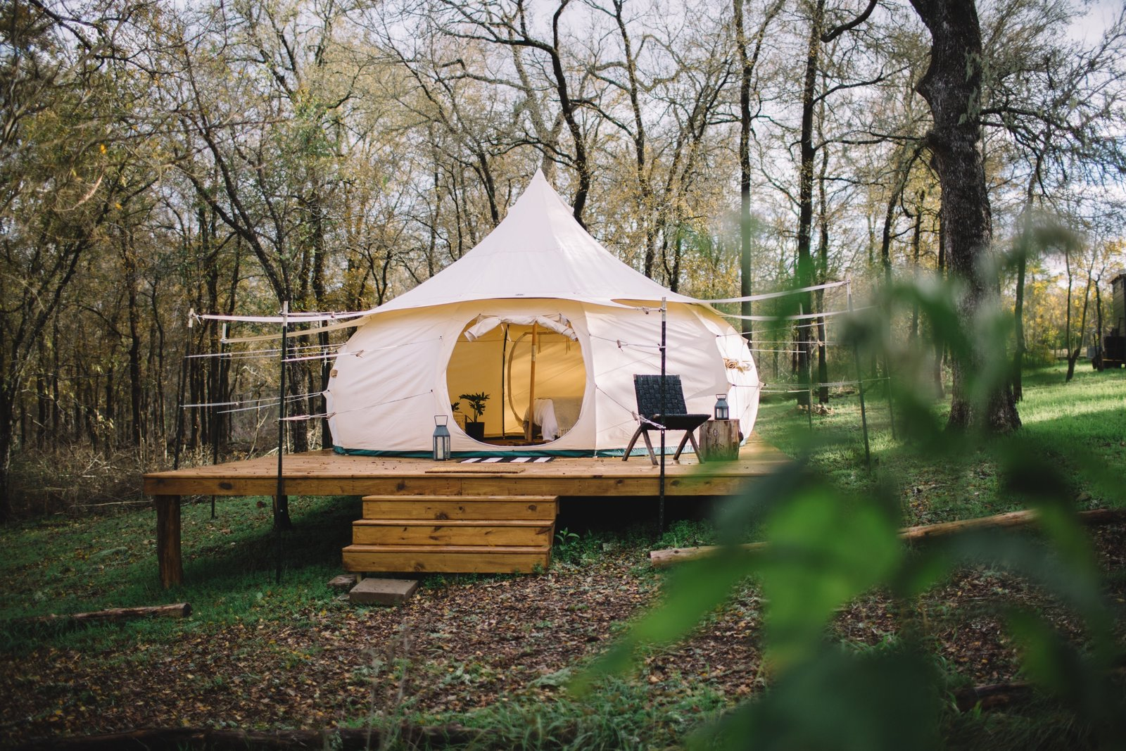 Exterior and Tent Building Type  Photo 1 of 8 in A Texas Camping Spot Complete With Yurts and Miniature Donkeys from Green Acres Yurt
