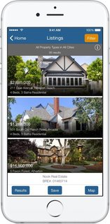 When you open Nook's new Search with Style app, you're given the option to look for properties in your area with a radius search, or fill out a classic search form. Both directions lead to a list of thousands of MLS results—standing for Multiple Listing Service (example shown here). The page scrolls continuously with properties until you decide to filter your search to match the architectural style of your choice.