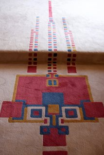 The thoughtful repetition of the hollyhock motif was pointed out everywhere we went. Even the living space rug—which was also designed by Wright—featured the motif with a range of bright colors. The original version (this is a reproduction) was built as one large piece that covered the living room and the extended spaces surrounding it without any seams.