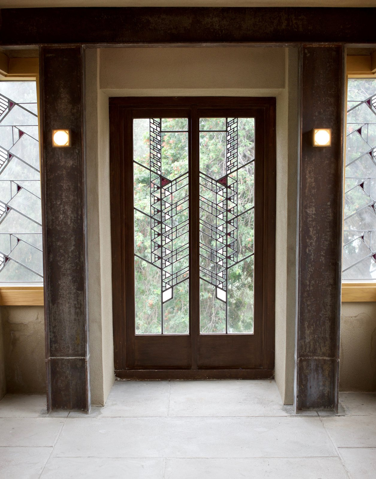 The Hollyhock House was one of the last residences where Wright designed a comprehensive art glass window scheme that's carried throughout the residence. Throughout the property, there are 130 examples of this.  Photo 13 of 14 in Iconic Perspectives: Frank Lloyd Wright's Hollyhock House