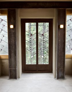 The Hollyhock House was one of the last residences where Wright designed a comprehensive art glass window scheme that's carried throughout the residence. Throughout the property, there are 130 examples of this.