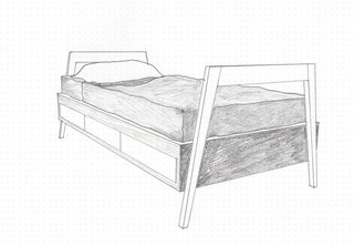 Jon Handley and Melissa Baker of Pulltab designed this twin-size children's bed with built-in storage in 2014.