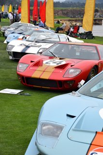 Lining the water on the 18th fairway of Pebble Beach Golf Links was a grouping of sporty race cars ranging from the '50s through the '70s—all of which had their own distinctive character and action-filled histories. The blue and orange car in the front is a 1968 Ford GT40 Mirage, which came from Sandy, Utah. During its time, it marked the first win for the blue and orange Gulf livery, which has now become legendary. It also was used as a camera car in the film Le Mans by Steve McQueen.