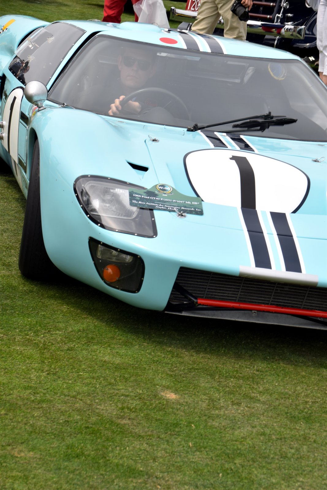 Brought to the show from the Revs Institute for Automotive Research, Inc. in Naples, Florida, this 1966 Ford GT40 raced for the first time at the 12 Hours of Sebring race in 1966. After enduring several eventful races, it concluded its career after racing at Montlhéry. It's been carefully preserved ever since.  Photo 3 of 10 in A Day at the Pebble Beach Concours d'Elegance Car Show