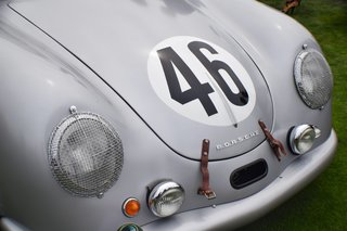 Coming from Portland, Oregon, this Porsche 356 SL Coupe was one of only four cars that were prepared for the 24 Hours of le Mans race in 1951. It was the only one that made it to the race without crashing. Though it finished 20th overall, it won first in its class (1100 cc), which became Porsche's first win in an international race and marked the beginning of its extended connection to international endurance racing.