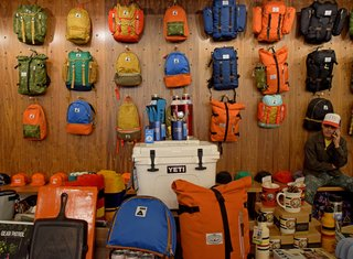 Each wall in Poler is lined with colorful outdoor gear and accessories. Every corner of the store brings you closer to your future camping adventure.