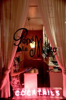 The entrance to Pépé le Moko is mysterious, and welcomes you with a bright pink fluorescent sign. Once you check-in up front, you're led downstairs to the tightly-packed, cozy space.