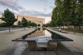 "Philadelphia's ""Gallery in a Garden"" - Photo 3 of 3 - Attic Fire Photography stopped to capture the reflection of the Philadelphia Free Library on the Barnes Foundation's fountain."