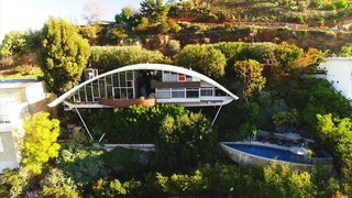 The pool at the bottom of the property did not exist when Mcllwee bought the house, even though Lautner had originally planned for it to be there. Mcllwee and Marmol Radziner used Lautner's original drawings to actually realize it.