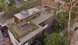 This overhead view of the VDL residence shows the top level that holds the water pools, garden, rooftop, and the glass-enclosed seating area where Mrs. Neutra would encourage guests to spend time in.