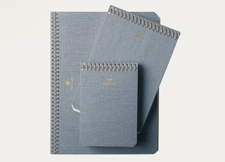Ideal for writers, artists, and designers, they also come with water-resistant pressed cotton covers for a classic look. Postalco Jeans Dark notebooks, $18–$33