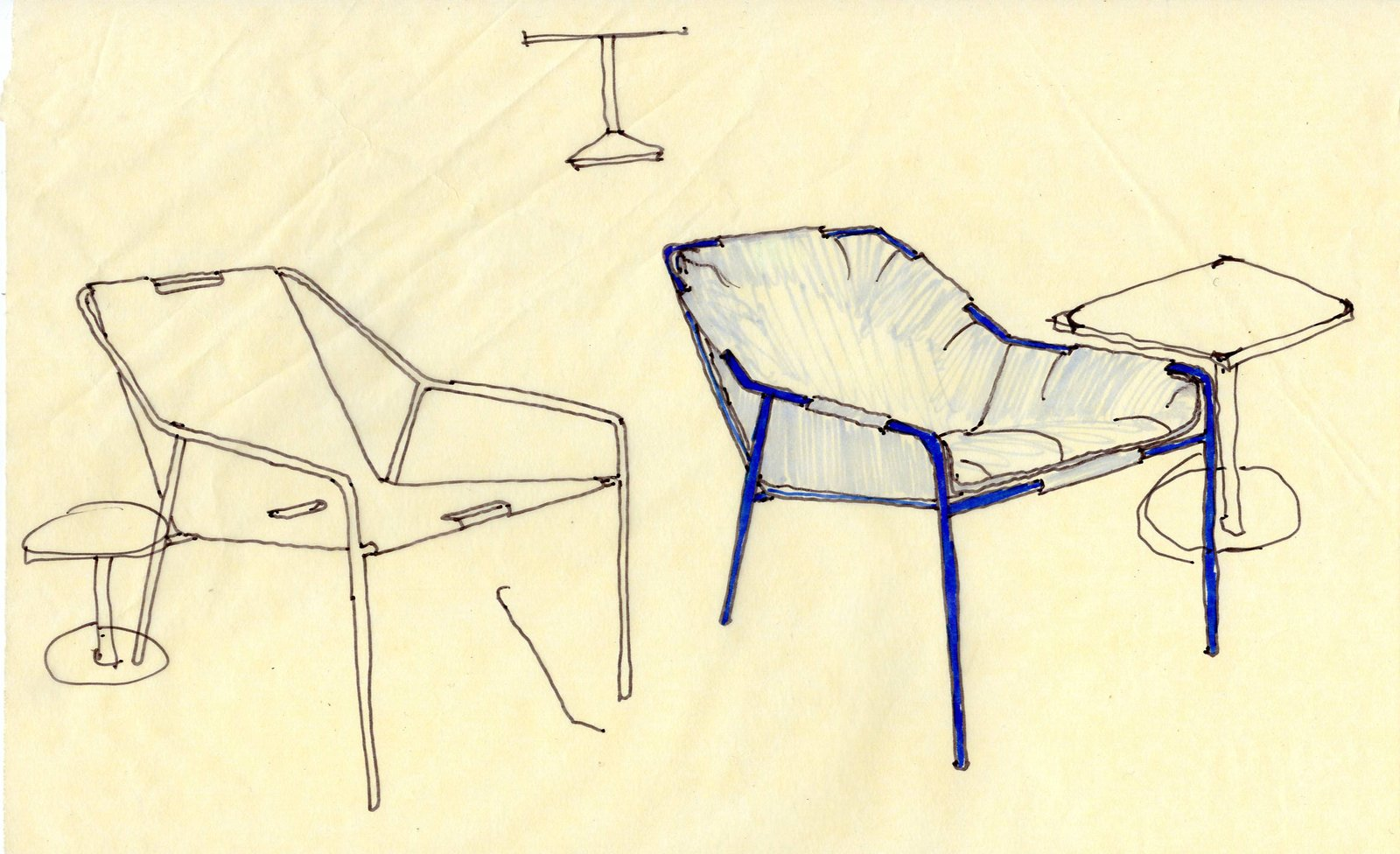 The outdoor seating line is one of their favorite parts of the collection. Nick pointed out that Chris penned the designs himself and that the final results are amazingly comfortable—especially for being so affordable. They took posture into consideration when designing the chairs, including the Outdoor Lounge Chairs, which are shown in a sketch here—with and without cushions.  Photo 2 of 15 in Deam + Dine Reveal Their Design Process Behind Modern by Dwell Magazine For Target
