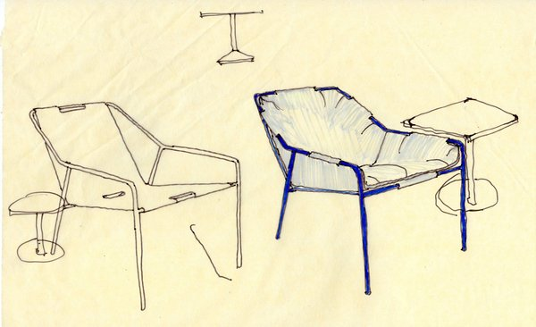 As some of their favorite elements of the collection, the outdoor seating pieces were designed with posture in mind. Chris and Nick point out that the final results are amazingly comfortable—especially for being so affordable. A drawing of the Outdoor Lounge Chair is shown here, with and without cushions.