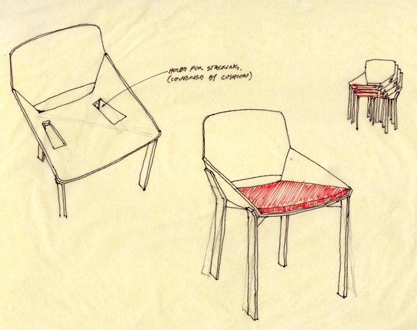 After Chris and Nick came up with a plan for the line, they started with the pieces they had already been thinking about. Some came from Chris, others from Nick, and the remaining were born from mutual discussions. They then began the editing process with sketches—one of which is shown here for the Dining Chair.