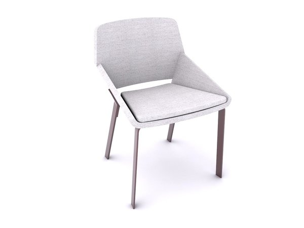 Their next step included building the pieces to scale with 3D computer models so that they could work on materials, proportions, and other vital details. They then used 3D CAD files when going through the prototyping process with Target. Here, you can see their digital 3D model of the Dining Chair, which transitioned from the prior sketch.