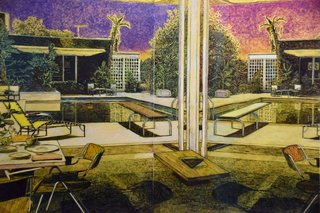 "The San Francisco-based Hosfelt Gallery presented an impressive collection of architectural illustrations by German artist Stefan Kürten. Shown here is Mirage, which was made with acrylic and ink on paper in 2016. Kürten is known for depicting environments we create in order to craft a ""perfect life."" This often results in midcentury homes, bungalows, and resorts that used to promise prosperity in the post-World War II environment—though each image contains hidden details that hint at decay or disaster."