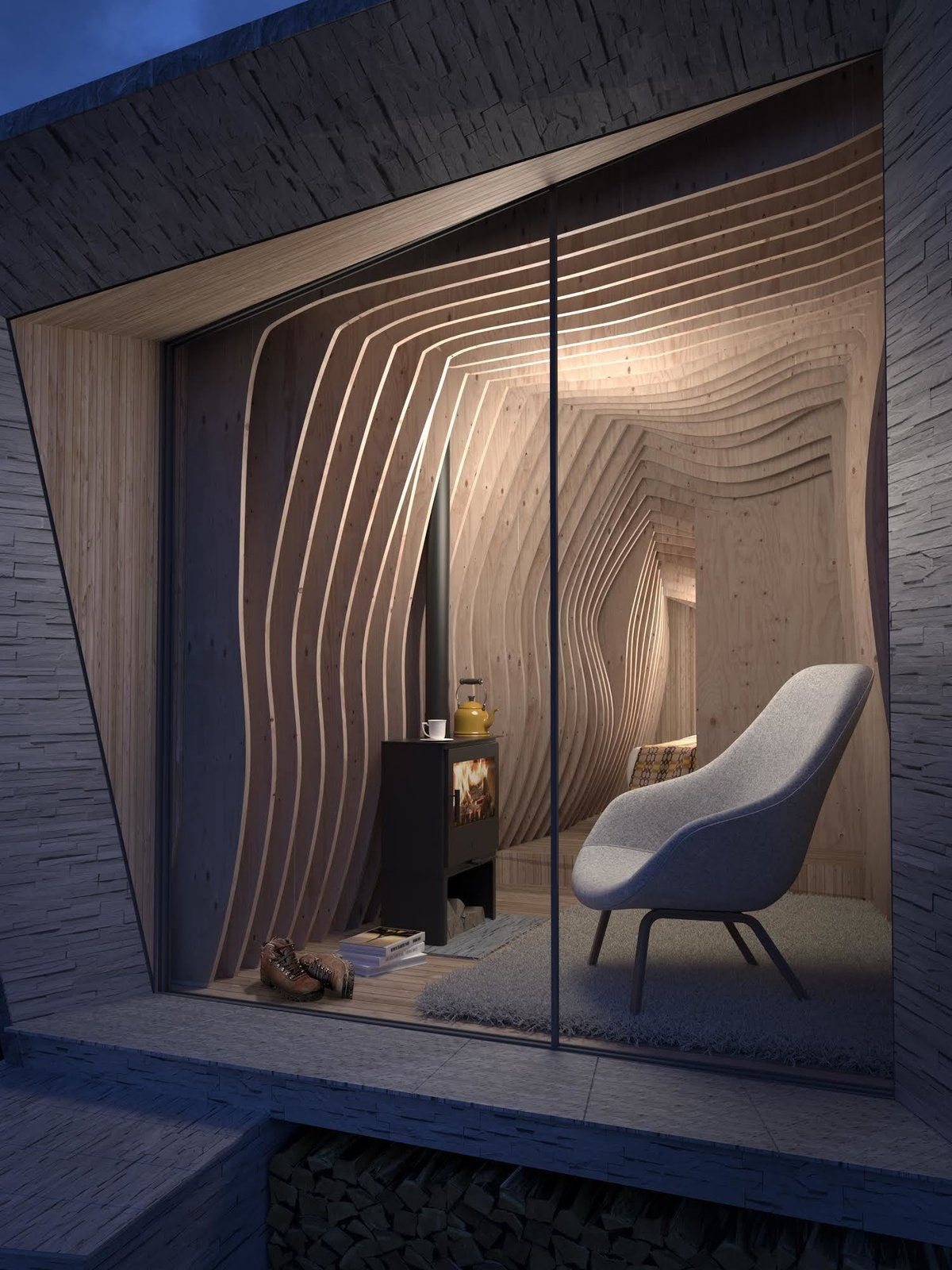 When Arthur's cave is erected this spring, it will enjoy a full-width sliding glazed door that will provide panoramic views of the landscape.  Photo 2 of 9 in A Design Competition Unveils a Pop-Up Hotel Concept That's Soon to Hit the Welsh Countryside