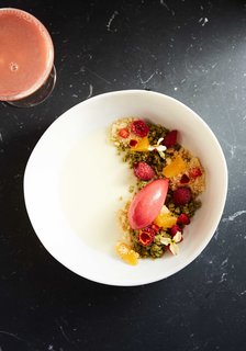 The restaurant team sources ingredients from the Hudson Valley as much as possible, while creating shareable dishes that celebrate eccentricity. Shown here is their Chamomile Panna Cotta.