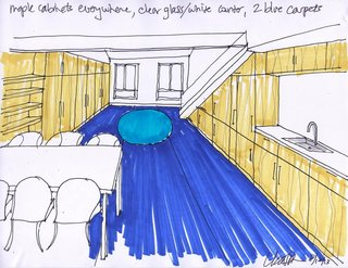 Shown here is a sketch that Simon created at the beginning stages of the project. It shows how she planned to combine the living, dining, and kitchen areas into one long and lean space.