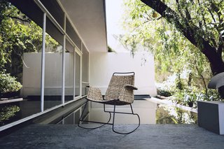 The La Norestense rocking chair is produced between two Mexican cities. The metal work is done in Monterrey, Mexico, while the palm weaving is done in Mexico City.