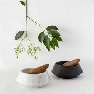 The mortar of their pestle and mortar is available in two types of marble, while the pestle is handmade out of Guayacan wood that's sourced from the Yucatán and is finished with palm wax and linseed oil.