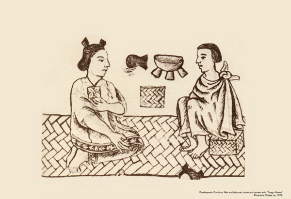 """This illustration from 1578 depicts how """"tabourets"""" were used in Aztec life. We were told that the type of seagrass seat that individuals used represented their position in society. Using the same woven technique that their ancestors employed, txt.ure will produce 20 pieces per month, which will be available to purchase through Luteca by the end of May."""