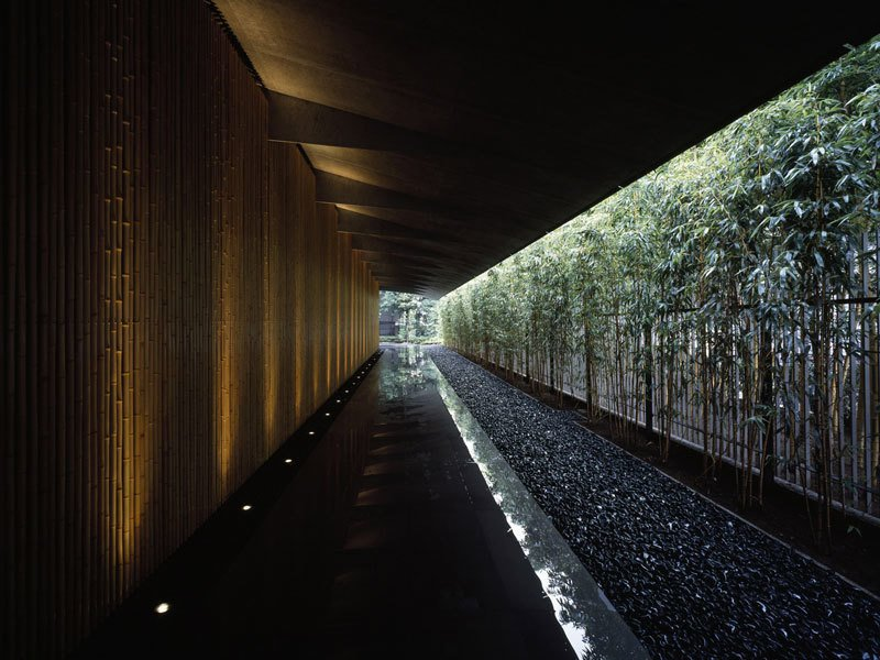 Surrounded by a garden and featuring a bamboo lined approach, the Nezu Museum's unique roof design blends the interior space with the garden.  Photo 11 of 13 in Architect Spotlight: 12 Works by Japanese Architect Kengo Kuma
