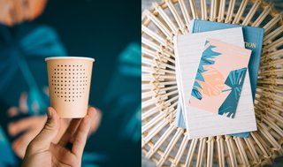 Shown here are a few of the details dreamed up by OMFGCO, including custom paper cups that are served at the coffee shop and the modern floral pattern they created for the guest room walls.