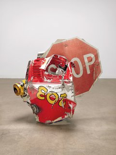 Stop Side Early Winter Glut, 1987 – Riveted metal road signs, car parts, and gas station signs 109.9 x 116.8 x 86.4 cm
