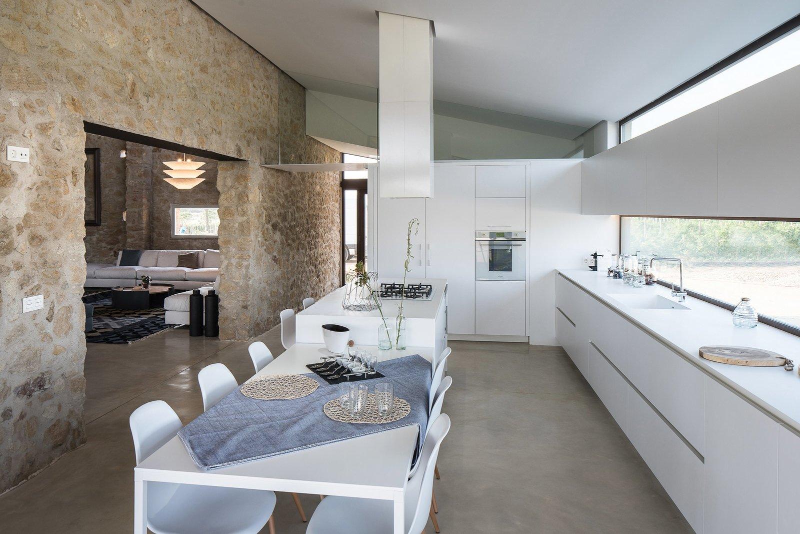 modern farmhouse kitchen with stone brick walls