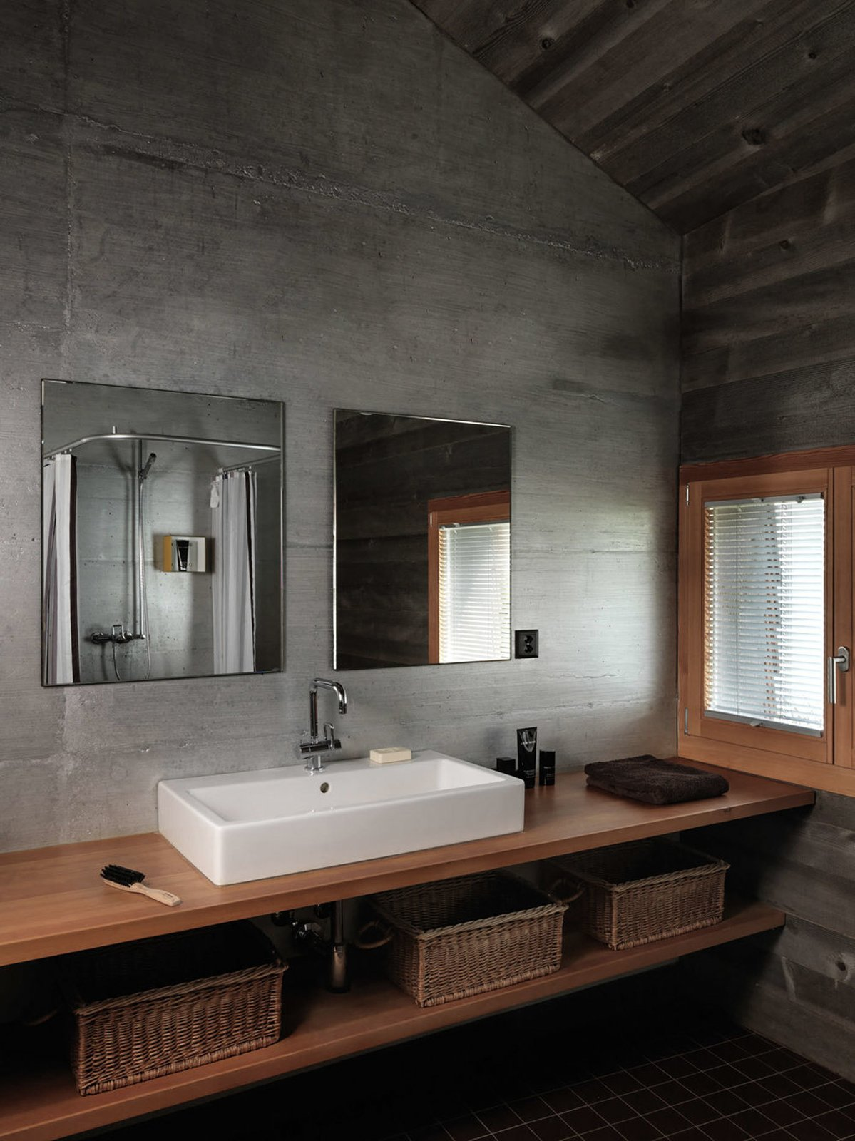 Bath, Wood, Vessel, and Concrete  Best Bath Concrete Wood Photos from House on the Water by Galletti & Matter Architectes