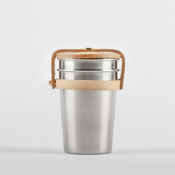 Cup Set, Leather & Steel