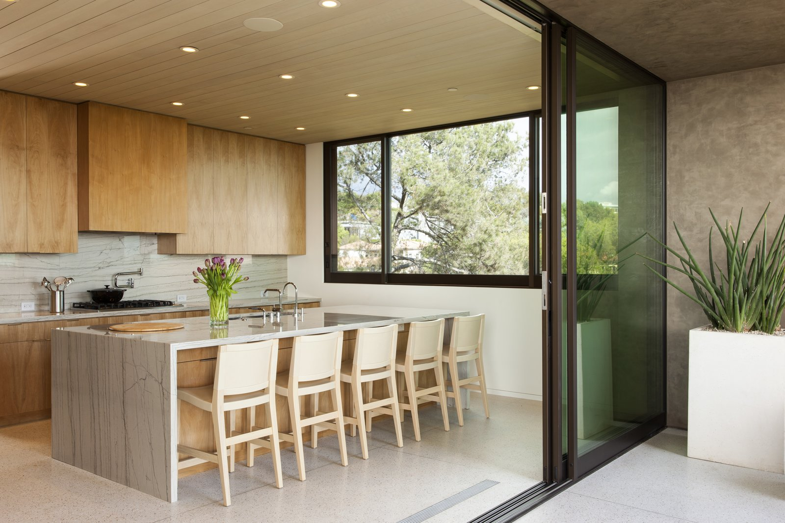 Kitchen, Marble Counter, Wood Cabinet, Terrazzo Floor, Marble Backsplashe, Recessed Lighting, Cooktops, and Drop In Sink  Summitridge by Marmol Radziner