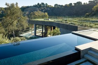 The lap pool has infinity edges on three of its four sides.