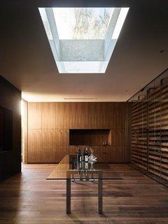 A skylit wine cellar.