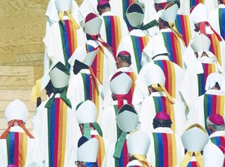 For World Youth Day in Paris, July 2007, Jean-Charles de Castelbajac designed the liturgical vestments for Pope John Paul II and 5500 members of the clergy, with robes featuring a spectrum of rainbow colors.