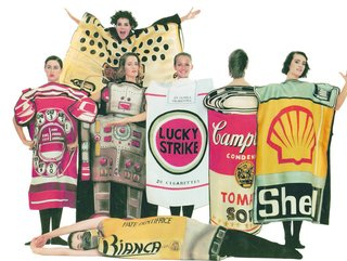 A commentary on consumer culture, Jean-Charles de Castelbajac's Summer 1984 collection, titled Homage to the 20th century, featured boxy dresses with famous American brands painted onto gazar fabric.