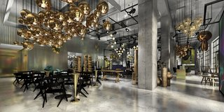 In Culver City, Tom Dixon has collaborated with concept boutique Curve for an integrated showroom display that combines fashion, food, and furniture. Shown are clusters of his Slab chairs in black, Mirror Ball pendants in gold, Plane chandelier, Melt pendants in copper, and Etch Shade pendants in brass.