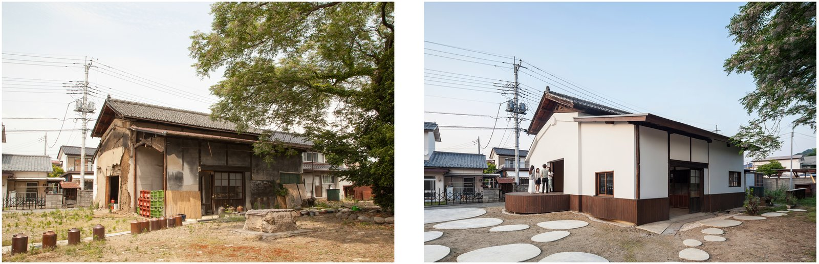 A view of the sake warehouse before conversion (left), and after (right).  Photo 2 of 8 in Saved From Demolition, a Japanese Sake Warehouse Sees a Second Life