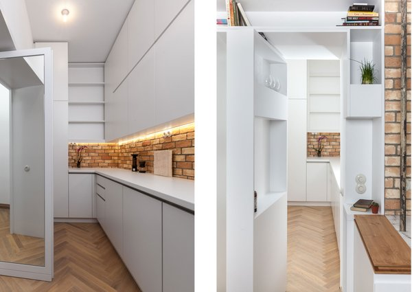 Concealed doors make the service area double as a private passageway. A mirror-lined door connects to the master suite (left); at the other end, a pivoting shelf door (right) leads to the kitchen and dining area. For the resident, an entrepreneur of a cold brew coffee business, the service area is also his home workspace.