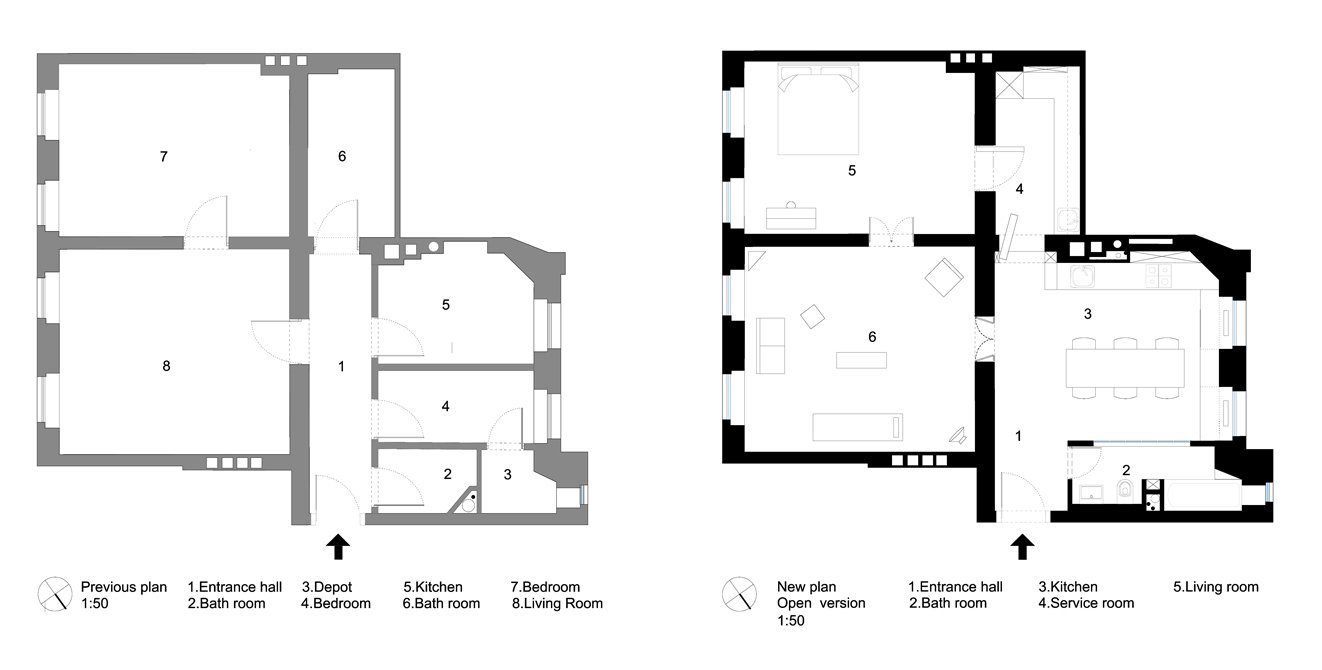 Removing several walls that previously partitioned the northwest-facing corner of the home into small, awkward spaces (left), the architect consolidated the interior into three main spaces, plus a concealed service area that can be privately accessed from the bedroom and dining area (right).  Photo 7 of 7 in A Hidden Passageway Makes Each Room in This Berlin Flat a Private Destination