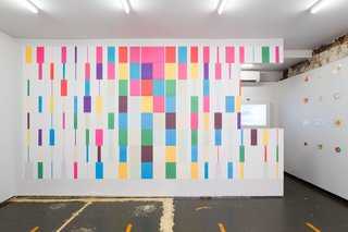 Karel Martens, A4 Wallpaper, 2013/2016. System of offset printed sheets using six colors overprinted to produce 20 colors in nine forms each. 180 sheets of paper, offset printed (each 11.75x8.25 inches).